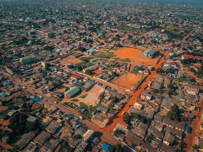 Aerial view Accra Ghana